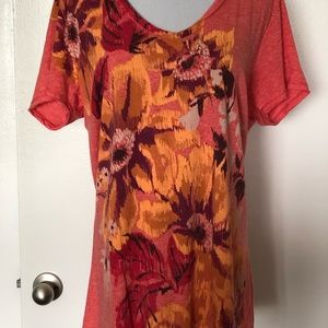 Lucky Brand Flower OrangeT-Shirt Style Blouse